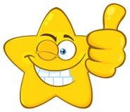Glimlachend Geel het Gezichtskarakter van Emoji van het Sterbeeldverhaal met omhoog Wink Expression Giving een Duim royalty-vrije illustratie