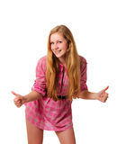 Glimlachend jong meisje dat twee duimen toont Royalty-vrije Stock Afbeeldingen