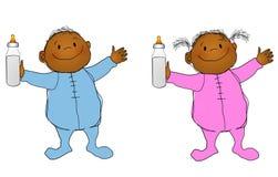 Glimlachend Jongen en Meisje 2 van Babys stock illustratie