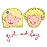 Glimlachend jongen en meisje royalty-vrije illustratie