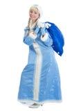 Glimlachend Kerstmismeisje met groot heden Royalty-vrije Stock Afbeeldingen
