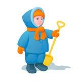 Glimlachend kind in de winterkleren, met een plastic schop voor sneeuw in een hand Royalty-vrije Stock Afbeelding