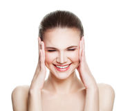 Glimlachend Kuuroord Modelwoman looking up stock foto