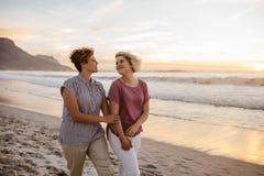 Glimlachend lesbisch paar die van een romantische gang langs een strand genieten stock afbeelding