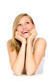 Glimlachend meisje dat op lijst leunt royalty-vrije stock afbeelding