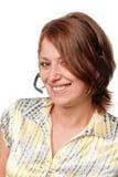 Glimlachend meisje met een microfoon royalty-vrije stock afbeelding