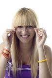 Glimlachend Meisje met Glazen stock fotografie
