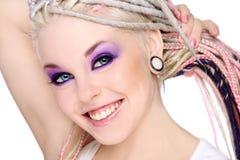 Glimlachend meisje met ontzetting Stock Afbeeldingen