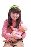 Glimlachend meisje met pop Royalty-vrije Stock Foto