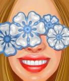 Glimlachend meisje met witte tanden en ornamenten in de vorm van tanden in de stijl van olieverfschilderij stock fotografie