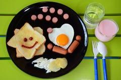Glimlachend ontbijt Stock Foto