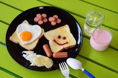 Glimlachend ontbijt Stock Afbeelding