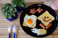 Glimlachend ontbijt Royalty-vrije Stock Foto