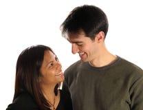 Glimlachend paar, in liefde Stock Foto's