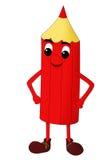 Glimlachend rood potlood dat op een witte achtergrond wordt geïsoleerdh Royalty-vrije Stock Afbeelding