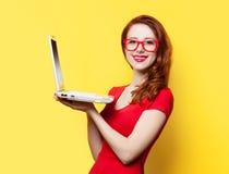 Glimlachend roodharigemeisje met laptop Stock Fotografie