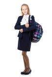 Glimlachend schoolmeisje met stapel van boeken stock afbeelding