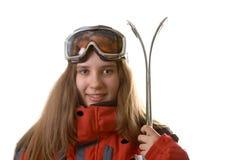 Glimlachend skiërmeisje stock foto's