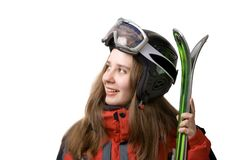 Glimlachend skiërmeisje royalty-vrije stock afbeeldingen