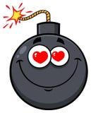 Glimlachend van het het Gezichtsbeeldverhaal van de Liefdebom de Mascottekarakter met Hartenogen Royalty-vrije Stock Foto's
