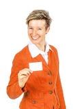 Glimlachend vrouwenadreskaartje royalty-vrije stock afbeelding