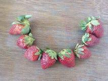 Glimlachende aardbeien Stock Foto