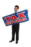 Glimlachende Accountant of Zakenman met teken Stock Afbeeldingen