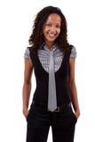Glimlachende Afrikaanse Amerikaanse bedrijfsvrouw Stock Fotografie