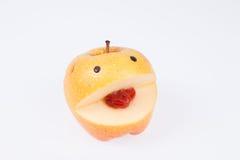 Glimlachende appel, optimistisch vitaminedieet Stock Foto