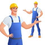 Glimlachende arbeider in bouwvakker het voorstellen Geïsoleerdee vectorillustratie stock illustratie