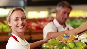 Glimlachende arbeiders die groenten opslaan stock footage