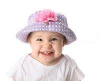 Glimlachende baby met hoed Stock Foto's