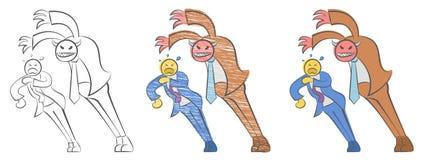 Glimlachende bedrijfsduivel Satan chef- aanvallen een werknemer Rood demon op het werk Boze chef- en bang gemaakte werknemer De d vector illustratie