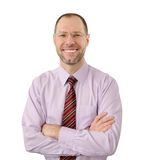 Glimlachende bedrijfsmens die op wit wordt geïsoleerd? royalty-vrije stock fotografie