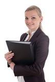 Glimlachende bedrijfsvrouw met dossieromslag Stock Fotografie