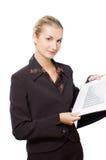 Glimlachende bedrijfsvrouw met een diagram stock afbeeldingen