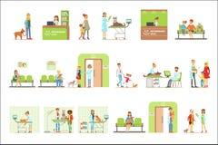 Glimlachende Beeldverhaalkarakters die Hun Huisdieren voor Dierenartsonderzoek brengen in Veterinaire Kliniekinzameling van Illus stock illustratie