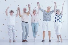 Glimlachende bejaarde mensen die pret hebben terwijl het genieten van van nieuwe jaar` s vooravond stock afbeelding
