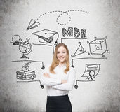 Glimlachende blonde vrouw en MBA-schets royalty-vrije stock foto's