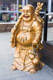 Glimlachende Boedha - Chinese God van Geluk, Rijkdom en Gelukkig op achtergrond royalty-vrije stock foto's