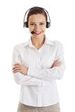 Glimlachende call centrevrouw met gevouwen wapens Royalty-vrije Stock Foto