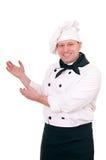 Glimlachende chef-kok stock foto's