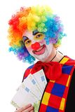 Clown die groot geld tonen Stock Afbeeldingen