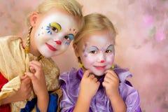 Glimlachende clownmeisjes Royalty-vrije Stock Fotografie