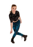 Glimlachende Danser in Hip Hop-Kostuum Royalty-vrije Stock Afbeelding