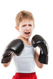 Glimlachende de jongen van het bokserkind opleidings in dozen doende sport Stock Fotografie