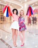 Glimlachende die vrouwen op kleurrijke het winkelen zakken worden opgeheven Royalty-vrije Stock Afbeelding