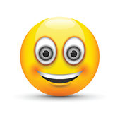 Glimlachende emoji grote grijze ogen Royalty-vrije Stock Afbeeldingen