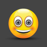 Glimlachende emoji grote grijze ogen Stock Foto's