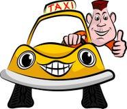 Glimlachende en gelukkige taxibestuurder Stock Fotografie